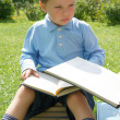 Little boy reads a book — Stockfoto