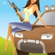 Huntress sitting on an offroad car — Stock Vector