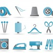 Textile objects and industry icons — Stock Vector