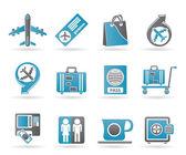 Luchthaven, reizen en vervoer pictogrammen 1 — Stockvector