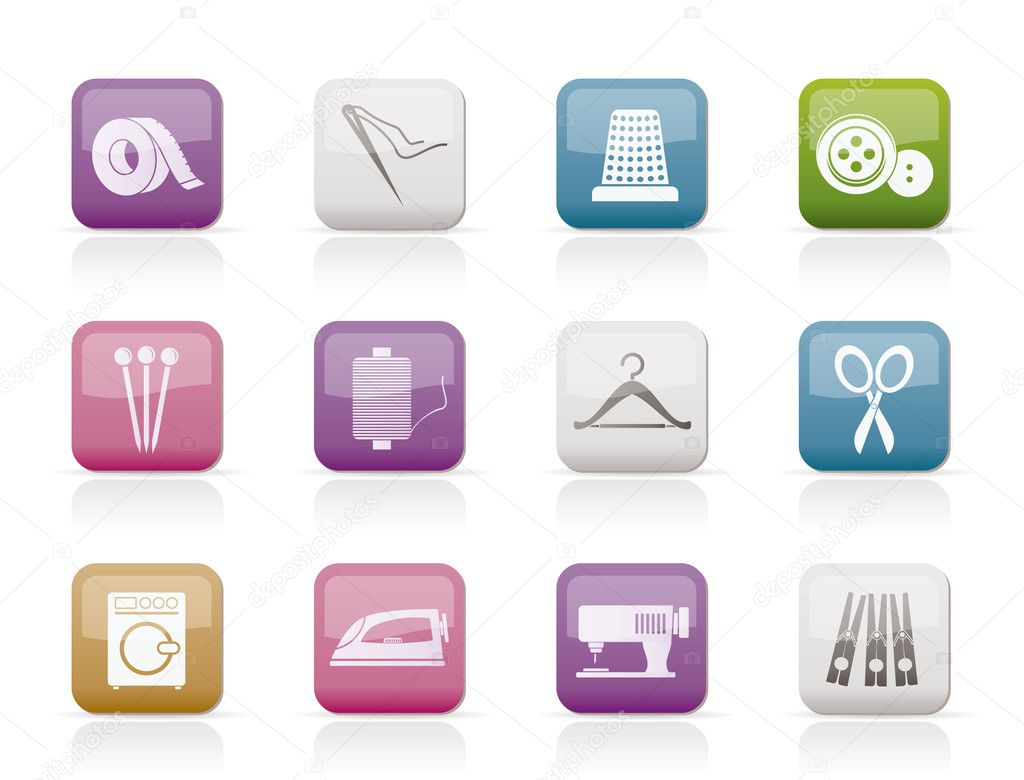 Textile objects and industry   icons - vector icon set — Stock Vector #5554044