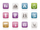 Camping, travel and Tourism icons — Stock Vector