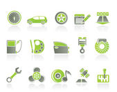 Car parts, services and characteristics icons — Stock Vector