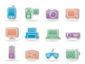 Hi-tech technical equipment icons — Stock Vector