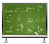 Sportgeräte und objekte symbole — Stockvektor