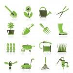 icônes d'outils et objets jardins et jardinage — Vecteur