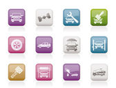 Auto service and transportation icons — Stock Vector
