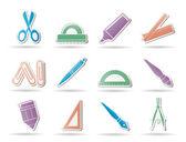 Ikony narzędzia szkoły i biura — Wektor stockowy