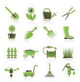 Pictogrammen in de tuin en tuinieren de gereedschappen en objecten — Stockvector
