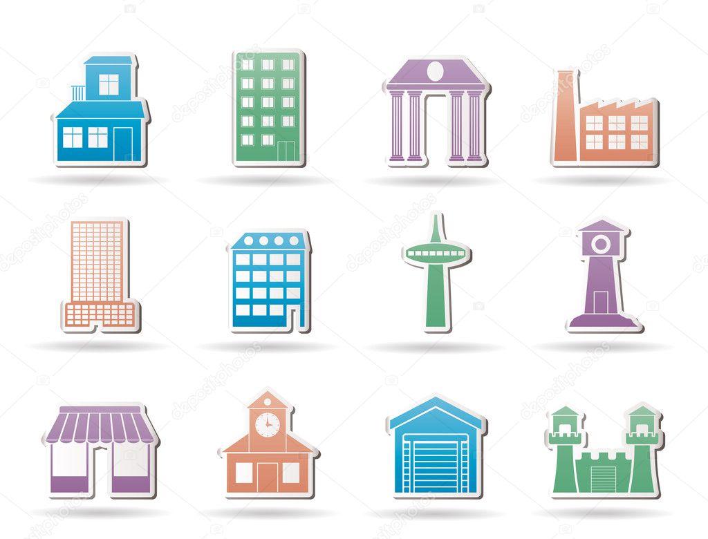 別の種類の建物と都市のアイコン , ベクトル アイコンを設定 \u2014 ストック
