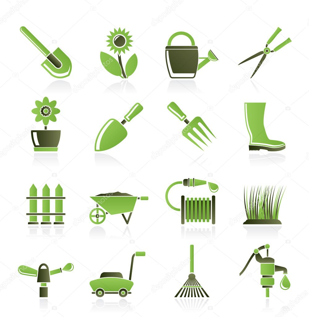 Garden and gardening tools and objects icons - vector icon set — Stock Vector #5755553