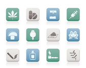 Different kind of drug icons — Stock Vector
