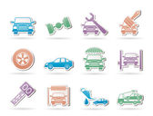 Auto service and transportation icons — Stock vektor