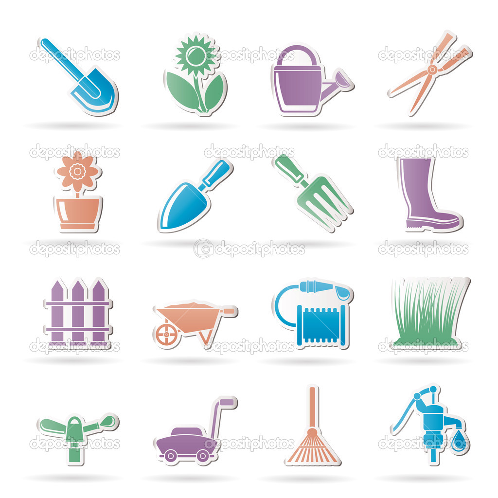 Garden and gardening tools and objects icons stock for Gardening tools tagalog