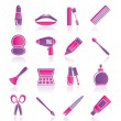 Stock Vector: Cosmetic, make up and hairdressing icons