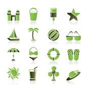 Beach, sea and holiday icons — Stock Vector