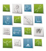 Garden and gardening tools and objects icons — 图库矢量图片