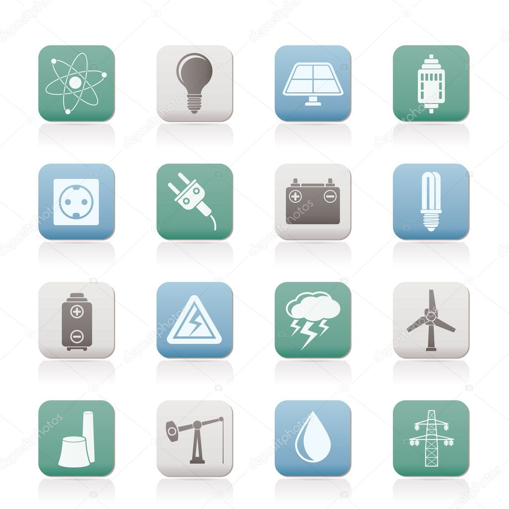 Power and electricity industry icons - vector icon set — Stock Vector #5978156
