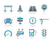 Road, navigation and traffic icons — Stock Vector