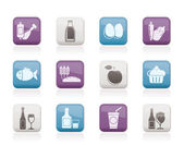 Food, drink and Aliments icons — Stock Vector