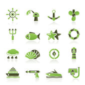 Marine and sea icons — Stock Vector