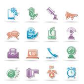 Cep telefonu ve iletişim simgeler — Stok Vektör