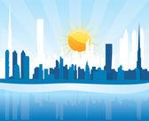 Cityscape Dubai, sunrise scene with skyscrapers — Stock Vector