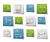 Hotel and motel room facilities icons — Stock Vector