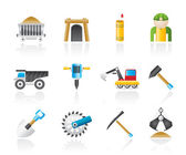 Mining and quarrying industry objects and icons — Stock Vector
