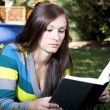 Beautiful Girl in the Park Reading a Book — Stock Photo