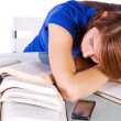 College Student Sleeping on her Desk — Stock Photo #6021291