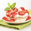 Stock Photo: Pancakes with quark and strawberries