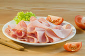 Slices of fresh ham — Stock Photo
