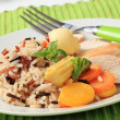 Chicken meat with mixed rice and vegetables — Stock Photo #5580568