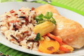 Mixed rice with chicken meat and vegetables — Stock Photo