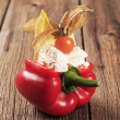 Cheese filled red bell pepper — Stock Photo #5648012