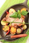 Roasted pork chop and potatoes — Stock Photo