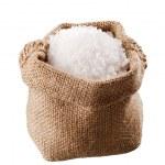 Sea salt in a burlap sack — Stock Photo