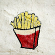 French fries painted on a wall — 图库照片