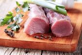 Raw pork tenderloin — Stock Photo