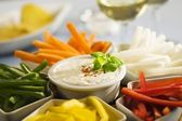 Assorted vegetables sticks and dip — Stock Photo