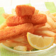 Fried fish fingers and French fries — Stock Photo #5856432