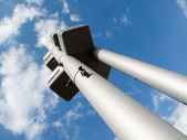 Zizkov TV Tower with sculptures of crawling babies — Stock Photo