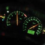 spor otomobil dashboard, gece — Stok fotoğraf