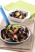 ångade musslor — Stockfoto