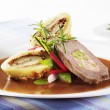 Stock Photo: Beef roulade with potato dumplings
