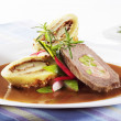 Beef roulade with potato dumplings — Stock Photo
