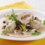 Chicken roll and potato dumplings in mushroom sauce — Stock Photo #5992167