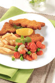 Fried fish and French fries — Stock Photo