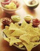 Nachos y salsas — Foto de Stock
